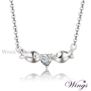 【WINGS】Wings 愛戀親吻魚 精鍍白K金方晶鋯石項鍊(墜子 吊墜)