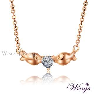 【WINGS】Wings 愛戀親吻魚 精鍍玫瑰金方晶鋯石項鍊(墜子 吊墜)