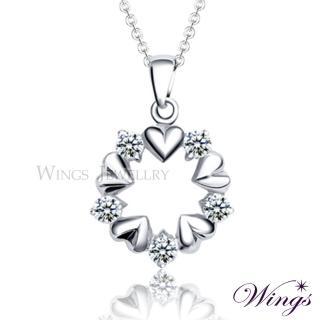 【WINGS】心心相戀 閃耀情人禮 耀眼方晶鋯石項鍊(擬真鑽 墜子 心型)