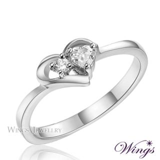 【WINGS】心媛 甜蜜愛心型設計抗過敏 戒指(鋼戒 可做尾戒)