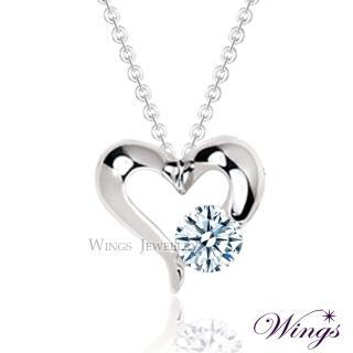 【WINGS】心戀 完美八心八箭方晶鋯石美鑽項鍊(墜子 吊墜 擬真鑽)