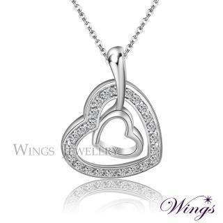 【WINGS】愛戀同心 超美閃耀方晶鋯石項鍊(墜子 吊墜 心型)