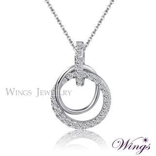 【WINGS】燦動迴旋 耀眼方晶鋯石美鑽項鍊(墜子 吊墜)