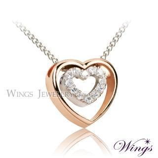 【WINGS】雙心奇緣 甜美日系 進口方晶鋯石項鍊(墜子 心型)