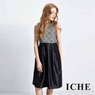 【ICHE 衣哲】圖騰拼接膝下長版洋裝