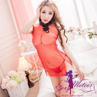 【Sexy Meteor】PA2139旗袍領典雅深情網紗二件式角色扮演睡衣組(花樣紅)