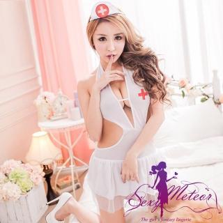 【Sexy Meteor】PA2167全尺碼-純潔白衣天使冰絲繞頸連身護士服+頭飾+丁字褲3件角色扮演睡衣組(天使白)