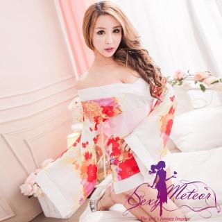 【Sexy Meteor】PA2179典雅花卉和服睡衣三件式角色扮演睡衣組(愛戀白)