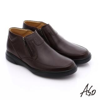 【A.S.O】厚切氣墊 羊皮直套式拉鏈奈米氣墊皮鞋(咖啡)