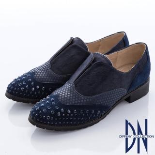 【DN】前衛女紳  耀眼水鑽時尚拼接真皮休閒鞋(藍)