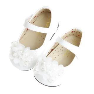【布布童鞋】Baby View寶貝優時尚米蘭系列閃亮白花飾足弓支撐娃娃鞋(OFZ658M)