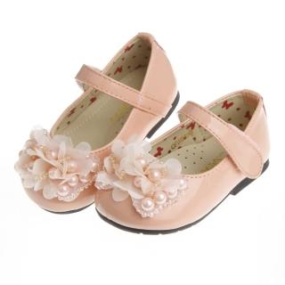 【布布童鞋】Baby View寶貝優時尚米蘭系列亮麗粉花飾足弓支撐娃娃鞋(OFW659G)
