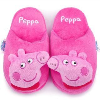 【童鞋城堡】粉紅豬小妹 佩佩豬 中童 立體造型絨毛拖(PG0038-桃)