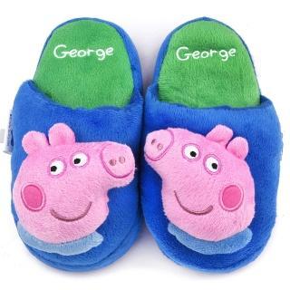 【童鞋城堡】粉紅豬小妹 喬治弟弟 中童 立體造型絨毛拖(PG0038-藍)