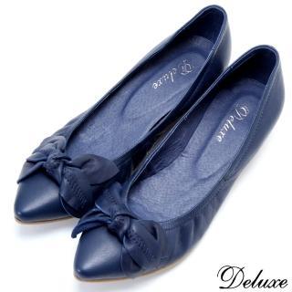 【Deluxe】全真皮魅惑蝴蝶藍小坡跟尖頭包鞋(藍)