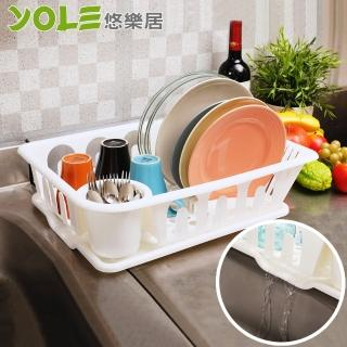 【YOLE悠樂居】日系多功能廚房碗盤餐具瀝水架#1132034