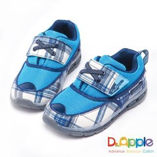 【Dr. Apple 機能童鞋】大童經典格紋LED發光運動鞋(藍)