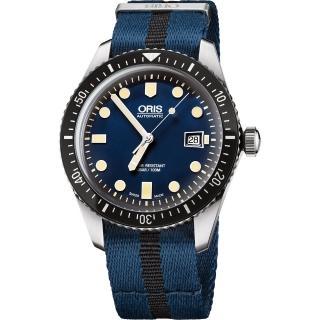【ORIS】Divers Sixty-Five 1965 復刻潛水系列機械腕錶-藍/42mm(0173377204055-0752128FC)