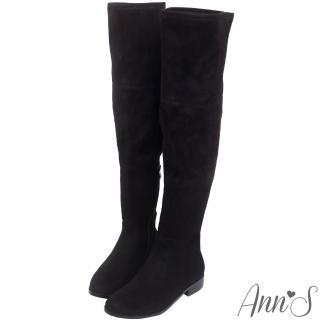 【Ann'S】完美比例-素面絨質平底彈力側拉鍊過膝長靴(黑)