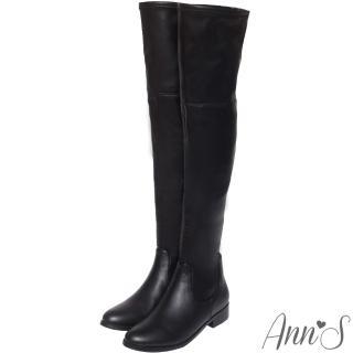 【Ann'S】貼腿激瘦-全素面平底羊紋彈力側拉鍊過膝長靴(黑)