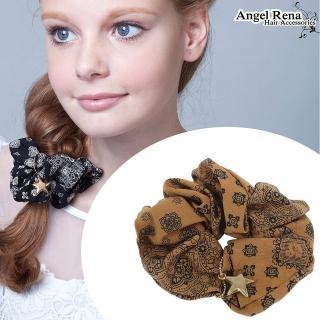 【Angel Rena】印花星星大腸圈髮束(奶茶色)