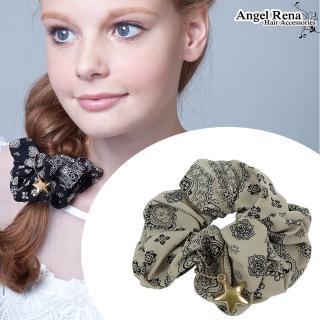 【Angel Rena】印花星星大腸圈髮束(淺灰)