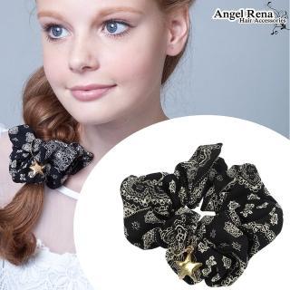 【Angel Rena】印花星星大腸圈髮束(黑色)