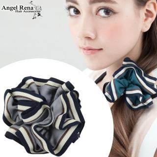 【Angel Rena】百摺滾邊大腸圈髮束(藍灰色)