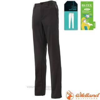 【荒野 WildLand】女款 SOFTSHELL合身保暖長褲.透氣機能長褲.運動長褲.立體修身長褲.休閒褲(0A12321 黑)