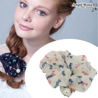 【Angel Rena】雪紡糖果珍珠髮束(白底)