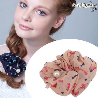 【Angel Rena】雪紡糖果珍珠髮束(粉紅底)
