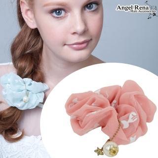 【Angel Rena】雪紡貓咪星星珍珠垂墜髮束(粉紅)