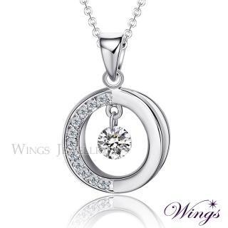 【WINGS】流轉時光 燦動方晶鋯石精鍍白K金項鍊(墜子 吊墜)
