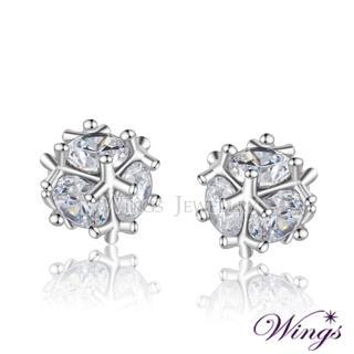【WINGS】晶球閃耀 進口方晶鋯石美鑽耳環(針式 穿式)