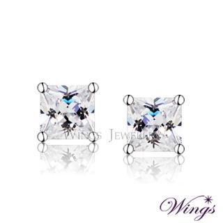 【WINGS】經典方鑽款 精鍍白K金 方晶鋯石美鑽耳環(耳針 穿式)