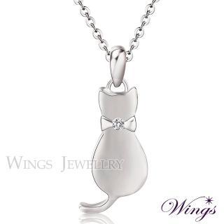 【WINGS】貓咪物語 甜美白鋼項鍊(墜子 316L 貓)