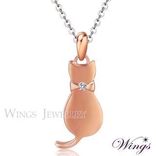【WINGS】貓咪物語 甜美白鋼鍍玫瑰金項鍊(墜子 吊墜 貓)