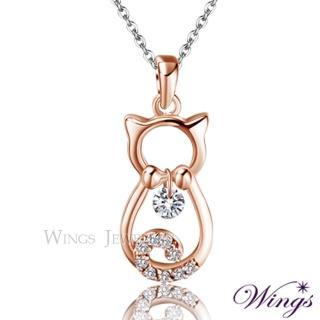 【WINGS】寶貝貓貓 甜蜜可愛精鍍玫瑰金方晶鋯石項鍊(墜子 吊墜 貓)