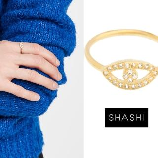 【SHASHI】美國品牌 Evil Eye 925純銀鑲18K金戒指(鑲鑽智慧之眼)