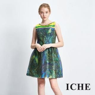 【ICHE 衣哲】金屬感印花釘珠禮服洋裝