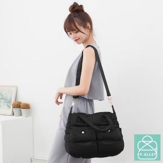 【89.Alley】空氣包 側背包 防潑水兩用雙口袋媽媽包(黑色)