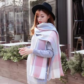 【幸福揚邑】英倫粉藍格子圍巾羊絨質感超大加厚長版披肩
