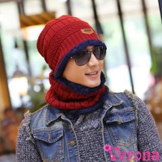 【Verona】男女加絨加厚雙用騎車護頸保暖帽子圍脖組