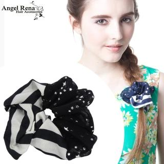 【Angel Rena】條紋雪紡星星大腸圈髮束(黑白)