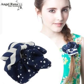 【Angel Rena】條紋雪紡星星大腸圈髮束(藍白)