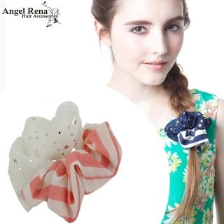 【Angel Rena】條紋雪紡星星大腸圈髮束(粉紅白)