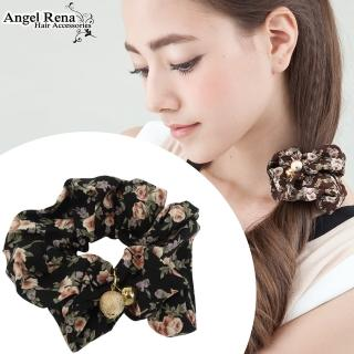 【Angel Rena】玫瑰印花金球髮束(黑色)