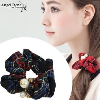 【Angel Rena】英倫格紋珍珠晶鑽髮束(黑藍紋)