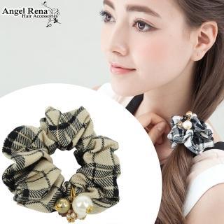 ~Angel Rena~英倫格紋珍珠晶鑽髮束^(黑米紋^)