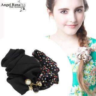【Angel Rena】繁星愛心星星珍珠墜飾髮束(黑色)